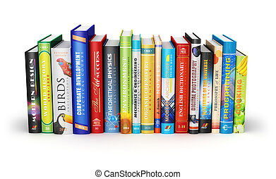 Creative abstract science, knowledge, education, back to school, business and corporate office life concept: color hardcovers books isolated on white background