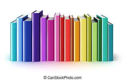 Creative abstract science, knowledge, education, back to school, business and corporate office life concept: rainbow color hardcover books isolated on white background