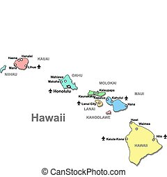 Color Hawaii map with airports over white