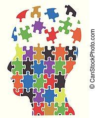 color head puzzle pieces background