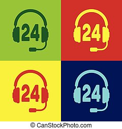 Color Headphone for support or service icon on color backgrounds. Concept of consultation, hotline, call center, faq, maintenance, assistance. Flat design. Vector Illustration