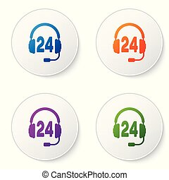 Color Headphone for support or service icon on white background. Concept of consultation, hotline, call center, faq, maintenance, assistance. Set color icon in circle buttons. Vector Illustration