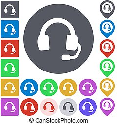 Color headphone icon set