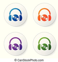 Color Headphones and CD or DVD icon isolated on white background. Earphone sign. Compact disk symbol. Set color icon in circle buttons. Vector Illustration
