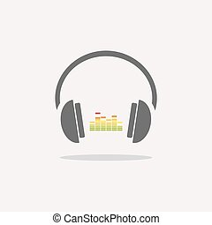 Color headphones with music icon on beige background