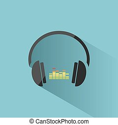 Color headphones with music icon on blue background and shadow