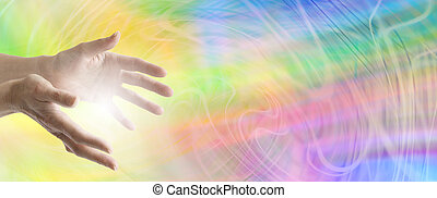 Color healing website banner - healer's hands outstretched...