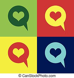 Color Heart in speech bubble icon isolated on color backgrounds. Heart shape in message bubble. Love sign. Valentines day symbol. Flat design. Vector Illustration