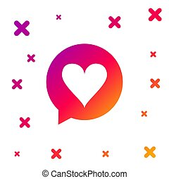 Color Heart in speech bubble icon isolated on white background. Heart shape in message bubble. Love sign. Valentines day symbol. Gradient random dynamic shapes. Vector Illustration