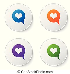 Color Heart in speech bubble icon isolated on white background. Heart shape in message bubble. Love sign. Valentines day symbol. Set color icon in circle buttons. Vector Illustration