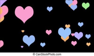 Color Hearts Loop Black HD - Hearts in various vivid pastel...