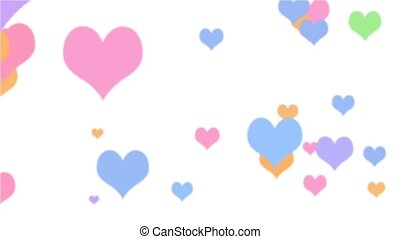 Color Hearts Loop White HD - Valentine hearts in a variety...