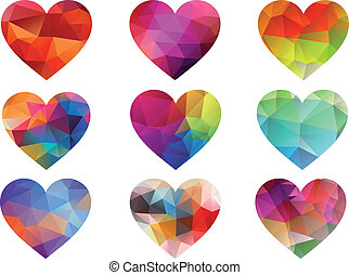 color hearts with geometric pattern