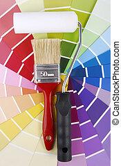 color, herramientas, guía, dechado