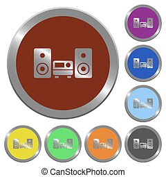 Color hifi buttons - Set of color glossy coin-like hifi...