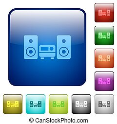Color hifi square buttons - Set of hifi color glass rounded...