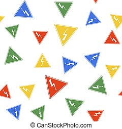 Color High voltage sign icon isolated seamless pattern on white background. Danger symbol. Arrow in triangle. Warning icon. Vector