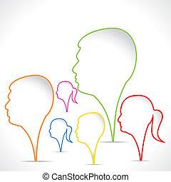 color, hombres, plano de fondo, mujeres