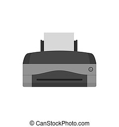 Color home printer icon, flat style