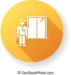 color, hotel, glyph, dormitorio, security., diseño, guard., ...