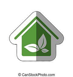 color house with leaves inside icon