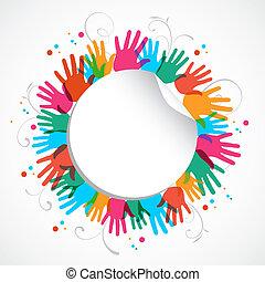 color, huella de mano, círculo