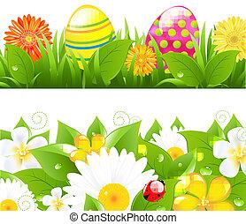 color, huevos, conjunto, pasto o césped, fronteras