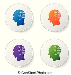 Color Human brain as digital circuit board icon isolated on white background. Artificial Intelligence. Human head outline with circuit lines inside. Set icons in circle buttons. Vector Illustration