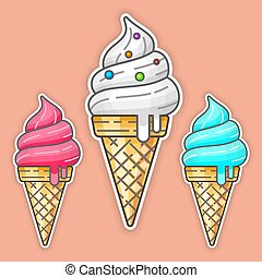 Color ice cream. Vector illustration.