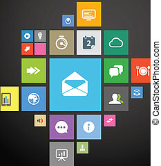 Color icon interface template on black