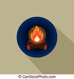 Color icon of bright bonfire with firewood on dark blue background.