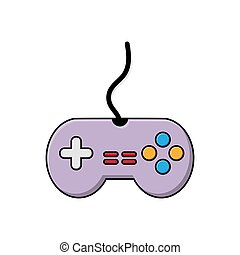 Color icon of the game controller. Flat cartoon style.