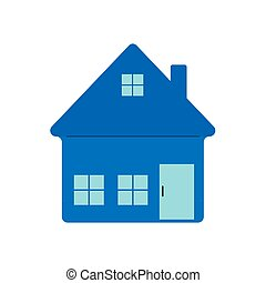 Color icon of the house. Outline isolated on a white background, stock illustration