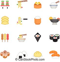 Color icon set - Eastern food