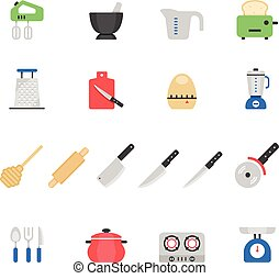 Color icon set - kitchenware