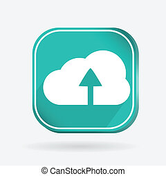 Color icon with shadow. cloud download