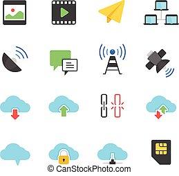 color, icono, conjunto, -, comunicación