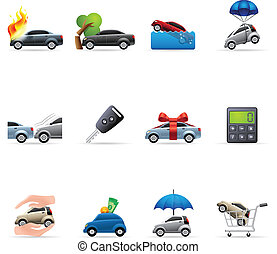 Color Icons - Auto Insurance - Car insurance icons in colors...