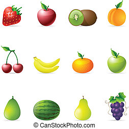 Color Icons - Fresh Fruits - Fresh fruit icons in colors