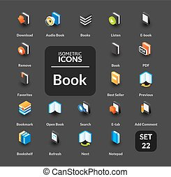 Color icons set in flat isometric illustration style, vector...