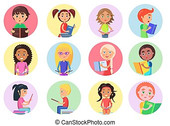 Color Icons with Reading Boys and Girls on White