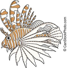 Color illustration lionfish. Vector objects on a white