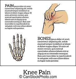 Color illustration of knee pain. Hands holding leg