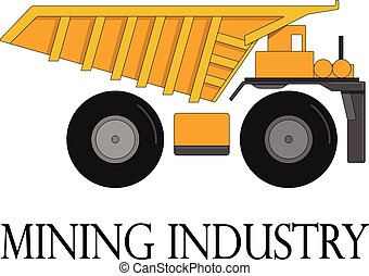 Color illustration of the dump truck for the mining industry on a white background.