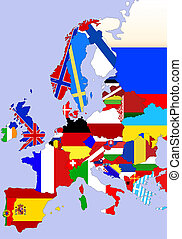 Europe map - Color illustration of the Europe map with flags...
