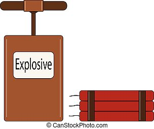 Color illustration of the explosive for the mining industry on a white background.