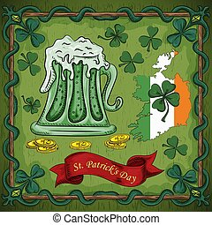 color illustration on the theme of St. Patricks day, a glass of beer with foam