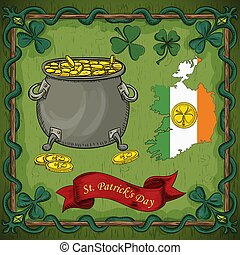 color illustration on the theme of St. Patricks day celebration, leprechaun pot with gold coins