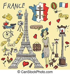 vector color illustration travel to Europe France, symbols and attractions, set of drawings, print design and web design, drawings on separate layers, Doodle style