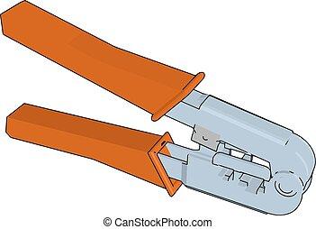 color, ilustración, mano, vector, alicates, herramientas, o
